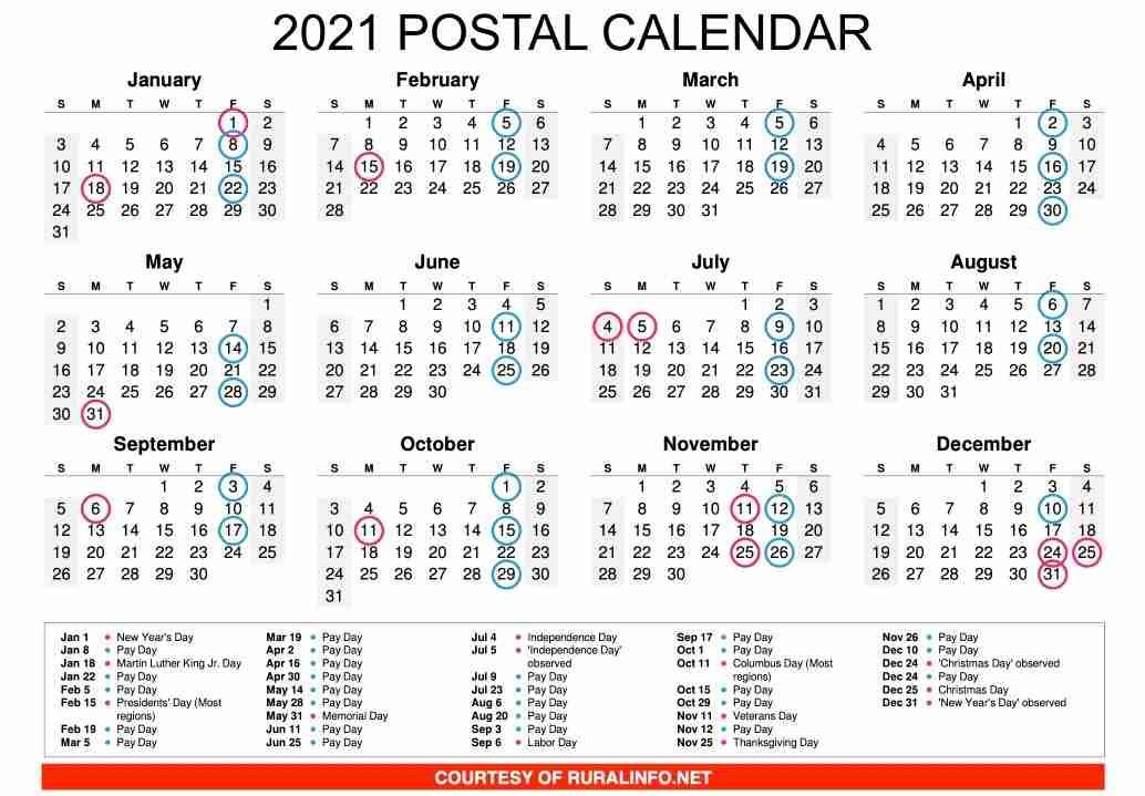 Usps 2021 Calendar 2021 Printable Postal Calendar – Ruralinfo.net